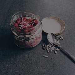 raspberry coconut chai in a glass jar