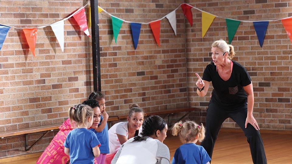 Children doing a group fitness class