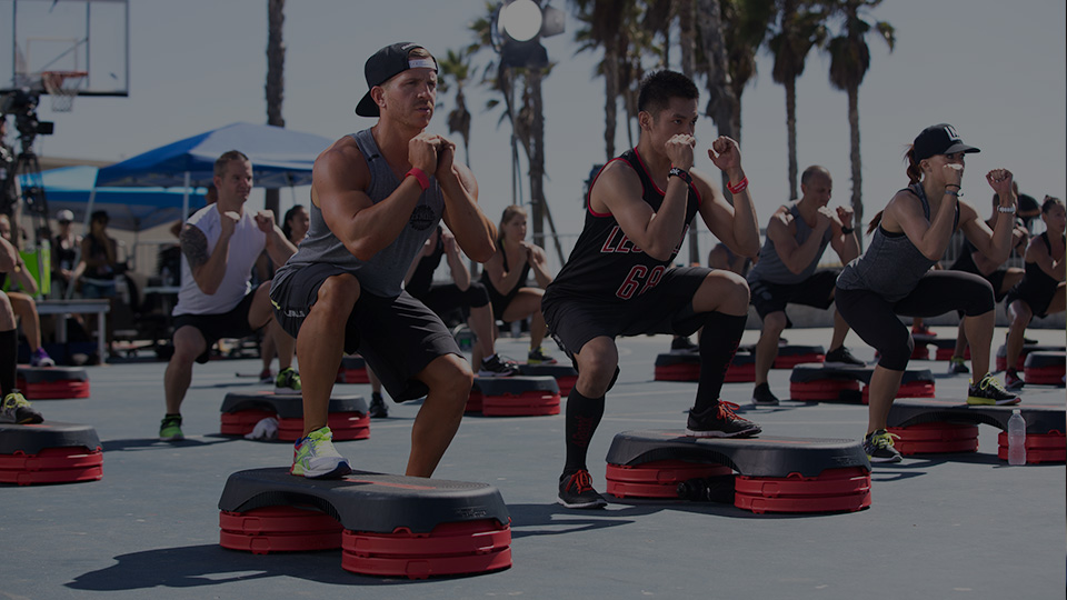 Group fitness workout on Venice Beach Los Angeles