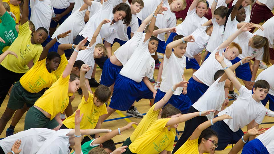 Children doing an exercise class