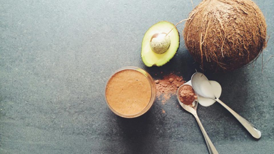 coconut avocado smoothie with coconut