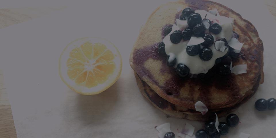 blueberry pancakes with lemon