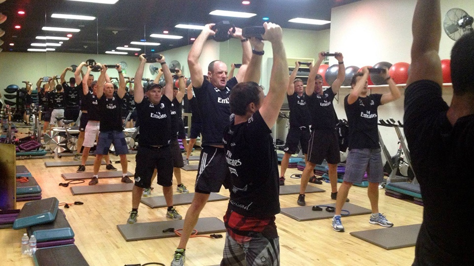 Emirates Team NZ doing LES MILLS GRIT workout