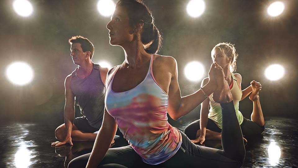 Three people in a Bodybalance fitness workout