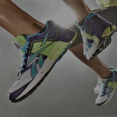 Close up of Reebok shoes