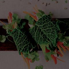 summer savoy cabbage rolls on serving tray