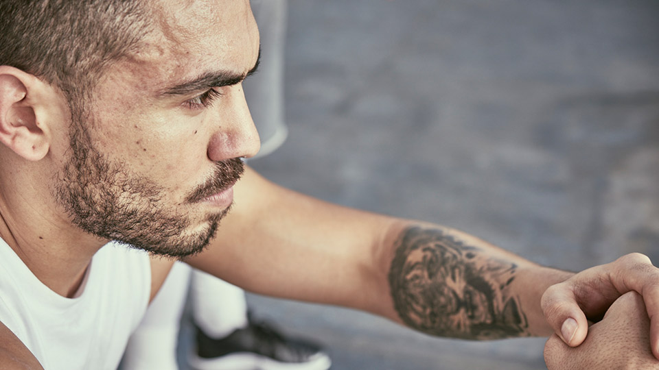 Close up of man in workout gear