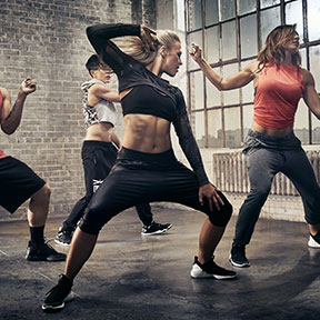 Body dance move to group fitness music class