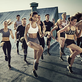 High intensity training cardio group working out