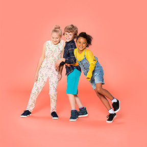 Group of children having fun with exercise